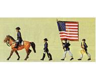 модель Preiser 12052 США, Северные штаты, офицер на лошади, барабанщик + знаменосец