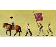 модель Preiser 12053 США, Южные штаты, офицер на лошади, барабанщик + знаменосец