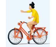 модель Preiser 28181 Девушка на велосипеде едет без рук