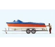 модель Preiser 33255 Моторная лодка, укрытая брезентом,  на прицепе