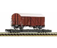 модель Roco 34598 Четырехосная платформа с загруженным товарным вагоном