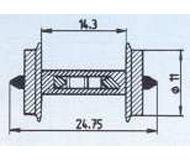 модель Roco 40186 Комплект колесных пар (2 шт), диаметр 11 мм, с установленным резистором 18 кОм, используются для определения занятости путей декодерами обратной связи (напр Viessmann 5233)