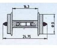 модель Roco 40187 Комплект колесных пар (2 шт), диаметр 9 мм, с установленным резистором 18 кОм, используются для определения занятости путей декодерами обратной связи (напр Viessmann 5233 и др)