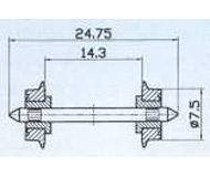 модель Roco 40189 Комплект колесных пар, оба колеса изолированы от оси. Диаметр 7.5 мм.