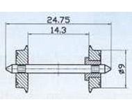 модель Roco 40194 Комплект колесных пар, одно колесо изолировано от оси. Диаметр 9 мм