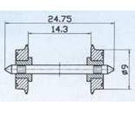 модель Roco 40197 Комплект колесных пар, оба колеса изолированы от оси. Диаметр 9 мм.