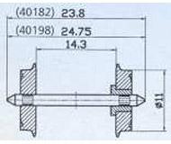 модель Roco 40198 Комплект колесных пар, диаметр 11 мм.