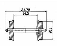 модель Roco 40264 Комплект колесных пар, одно колесо изолировано от оси. Диаметр 11 мм.