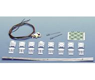 модель Roco 40361 Набор для освещения двух- и трехосного пассажирского вагона, для DCC (цифровое управление, 16В). В набор входят лампы, провода с контактными пластинами для токосъема с колесных пар, крепежные детали. Очень простой в установке. Для аналогового упарвления (12В) для этого набора необходимо использовать лампы 40322