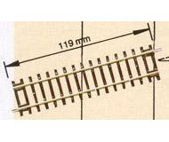 модель Roco 42411 Диагональная прямая DG1 длина 119 мм Используется совместно со стрелками для выпрямления путей. Высота рельса 2.1 мм. .
