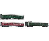 модель Roco 64069 Набор из трёх пассажирских вагонов Riviera-Express:вагон 1/2 класса, вагон-ресторан, багажный вагон. Принадлежность Германия, DB. Эпоха III