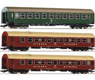 модель Roco 64148 Набор из трёх пассажирских вагонов Spree-Alpen- Express: 2 спальных вагона, тип Y/B 70 и вагон 2 класса. Принадлежность Германия, DR. Эпоха IV