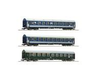 """модель Roco 64195 Набор из 3х пассажирских вагонов """"Meridian"""" #1: вагон 1/2 класса DR, два вагона 2 класса. Принадлежность DR/MAV. Эпоха IV"""