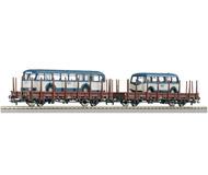 """модель Roco 66034 Сцеп из двух платформ, тип Rlmms 56, с автобусами """"Kreis Moerser Verkehrsbetriebe"""". Принадлежность Германия, DB"""