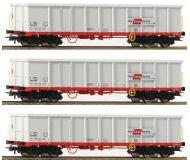 модель Roco 76082 Set offene Güterwagen Eanos 3-teilig. Принадлежность ÖBB, Австрия. Эпоха VI, mit Schrottbeladung.