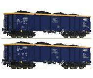 модель Roco 76086 Set offene Güterwagen Eaos 2-teilig. Принадлежность Chem Trans Logistic. Эпоха VI, beladen mit Echtkohle.
