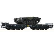модель Roco 76161 Набор из двух платформ, тип Sas с грузом M48 Panzern BW. Принадлежность DB. Эпоха IV