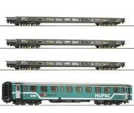 """модель Roco 76343 Набор """"Rollende LandstraBe"""": три платформы и вагон сопровождения HUPAC"""