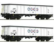 модель Roco 76731 Set offene Güterwagen Eaos 2-teilig der ECCO RAIL. Эпоха VI.