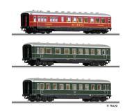 модель Tillig 01579 Набор из двух пассажирских вагонов и вагона-ресторана. Принадлежность DRG. Эпоха II