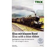 модель Horston 10152-54 TRIX. Миникаталог-постер модели паровоза S 2/6, в масштабах H0, N. на английском, немецком языках.