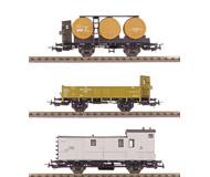 модель Железнодорожный Моделизм 15743-54 Комиссионная модель. Набор из трех старинных двухосных вагонов - почтовый вагон (дата на вагоне -1907 год), полувагон (дата на вагоне 1912 год), вагон с бочками для перевозки вина (дата на вагоне - 1910 год). Принадлежность Германия. Эпоха I. Металлические колесные пары. NEM-шахты для установки сцепок. Сцепки с накидной петлей. Производство Sachsenmodelle. Артикул по каталогу Sachsenmodelle 14107. В коробке.