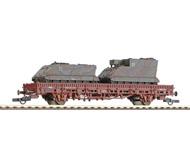 """модель Железнодорожный Моделизм 15769-54 Комиссионная модель. Двухосная платформа с танками M113 и M577а, прилагаются стойки для платформы. Принадлежность DB. Эпоха IV. Дата на вагоне - 1979 год. Прилагаются накладные детали. Металлические колесные пары. NEM-шахты для установки сцепок. Сцепки с накидной петлей. На вагоне установлены сцепки ROCO """"ласточкин хвост"""", также прилагаются стандартные сцепки с накидной петлей. Производство ROCO, серия Minitanks. Артикул по каталогу ROCO 804. В коробке, коробка подклеена скотчем"""