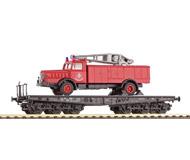 модель Horston 15898-54 Комиссионная модель. Шестиосная платформа с пожарной машиной. Производство Marklin. Артикул по каталогу 48671. В коробке.