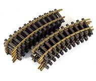 модель Железнодорожный Моделизм 17098-54 Комиссионная модель. Рельсы радиусные, медные, радиус R600 30° R1 (диаметр круга 1200мм), 12 штук (на полный круг). Масштаб G. Артикул по каталогу LGB 1100. Сделано в Германии.
