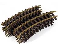 модель Железнодорожный Моделизм 17099-54 Комиссионная модель. Рельсы радиусные, медные, радиус R600 30° R1 (диаметр круга 1200мм), 12 штук (на полный круг). Масштаб G. Артикул по каталогу LGB 1100. Сделано в Германии.