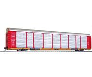 """модель Horston 17944-85 Современный трехуровневый американский вагон для перевозки автотранспорта. Вагон имеет интересный дизайн - для того, чтобы уместить бóльшее число автомобилей, были сделаны колеса уменьшенного диаметра, и таким образом стало возможным опустить днище вагона. Также была увеличена высота вагона. В результате нестандартной высоты вагон может эксплуатироваться только на определенных линиях, не имеющих препятствий по высоте. Длина вагона с учетом сцепок около 33 см., полностью собран. Принадлежность St. Louis-San Francisco """"Frisco"""". Производство Walthers. Артикул по каталогу Walthers 932-4871. Фотография выполнена с продаваемой модели."""