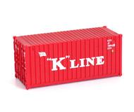 модель Железнодорожные модели 18117-85 20-футовый контейнер K LINE. Производство Walthers. Фотография выполнена с продаваемой модели.