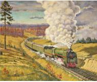 модель Железнодорожный Моделизм 18477-85 Репродукция картины на жд тематику. Размер 30х25