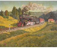 модель Железнодорожный Моделизм 18478-85 Репродукция картины на жд тематику. Размер 30х25